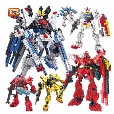 Free Shipping Hot sale LOZ Popolar Cartoon gundam Block robot six option Assembled Model DIY Children Educational Toys(China (Mainland))