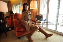 Nuevo estilo de super alto 55 CM altura señora de las mujeres de piel de oveja de cuero genuino de invierno botas de nieve caliente zapatos zapato(China (Mainland))