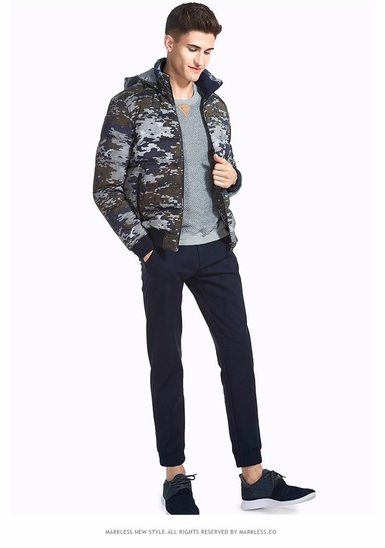 Скидки на Markless Мужчины Камуфляж печати Зимние Пальто Бренд Одежды Случайные Капюшоном Хлопка Куртки Теплые Пиджаки