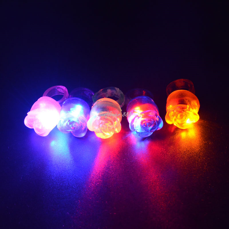 Light Up Jelly Rose Rings Flashing LED Rave Party Favors Blinking Finger Ring Wedding Valentine's day Carnival For Woman Girl(China (Mainland))