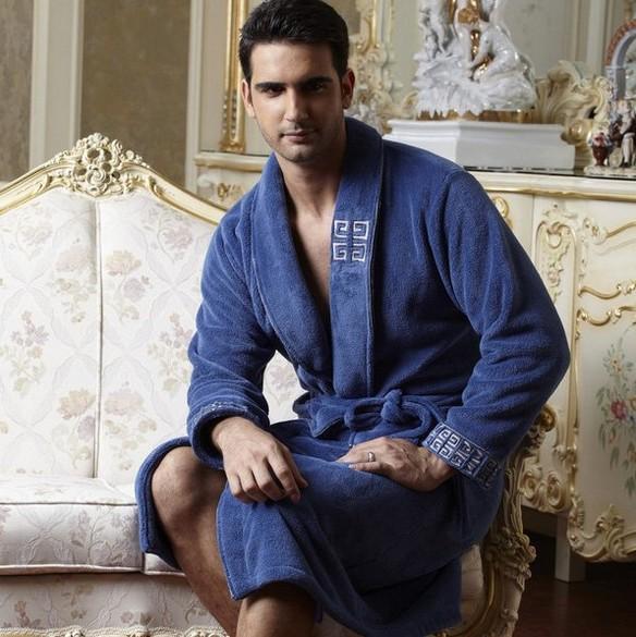 robe Autumn winter flannel bathrobe coral fleece fro men sleepwear thickening long-sleeve male new 2014 - WestRain's store