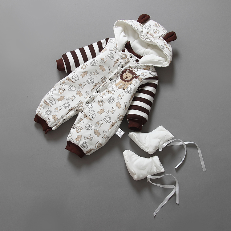 Jumpsuit + Hat Shoes Animal Style Warm Hooded Baby Rompers Winter Boys Clothes Outfits Newborn Clothing - prettybaby store