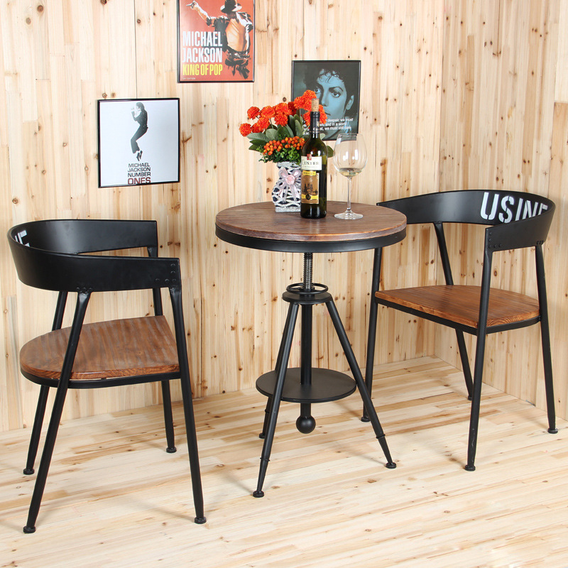 Small round wood Witte US American fashion creative outdoor leisure tea shop cafe dinette combination(China (Mainland))
