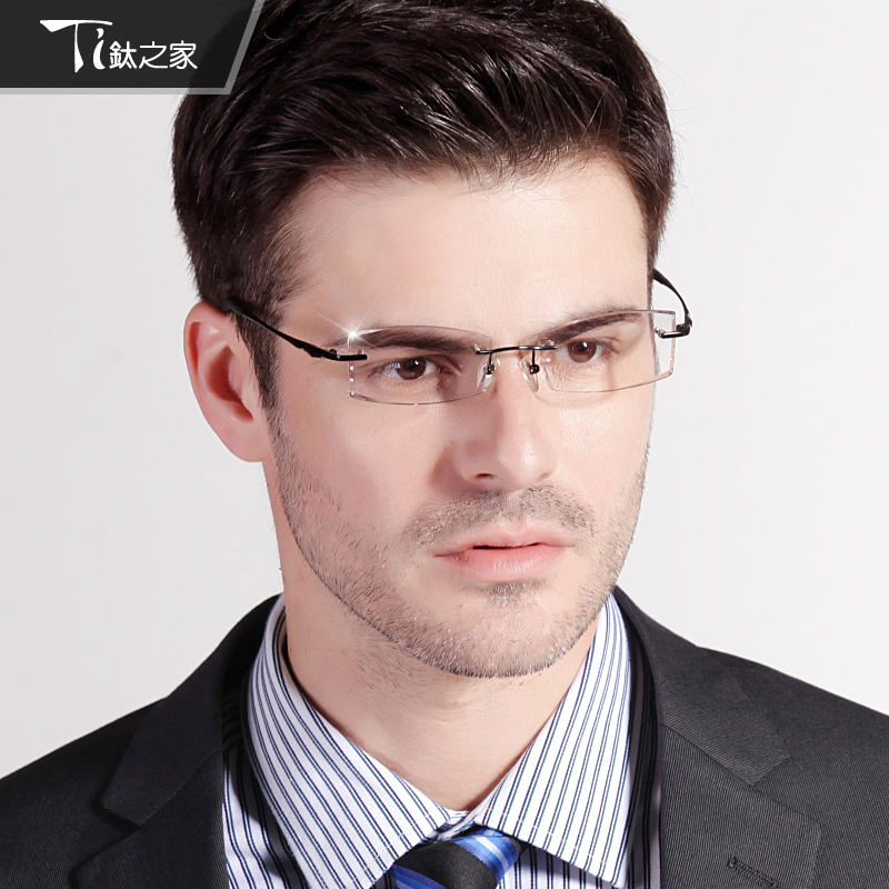 Rimless Glasses Young : free shipping Titanium glasses rimless glasses myopia ...
