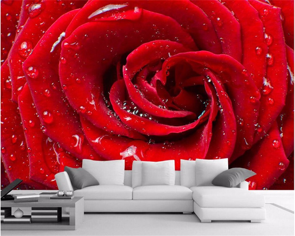 Red Wallpaper Designs For Living Room High Quality Red Rose Wallpapers Promotion Shop For High Quality