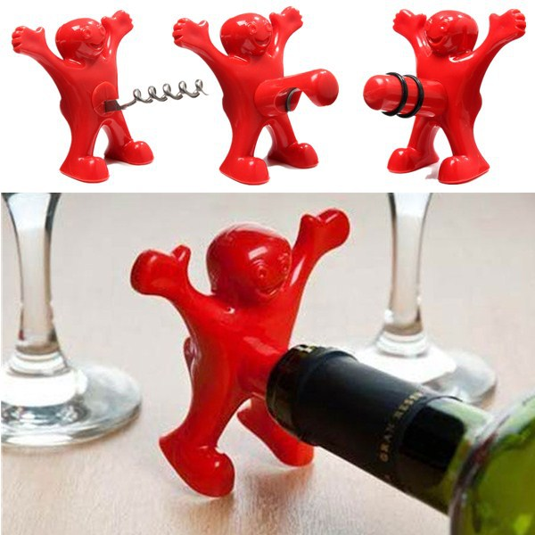 New Kitchen Bar Red Fun Happy Man plastic Wine Beer Soda Bottle Novelty Opener Stopper Red Wine Bottle Opener Cork(China (Mainland))