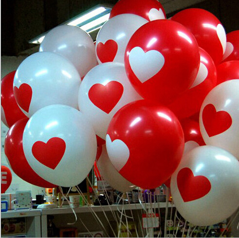 20pcs/lot Thicken Latex Balloons For Party Festival Wedding Decorations With Large Valentine Printed Heart BZ870105(China (Mainland))