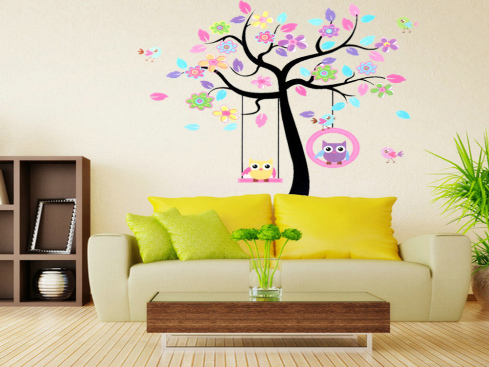 Home Decor Mural Art Wall Paper Stickers ~ Home decor rooms decal wallpaper owls tree kids mural