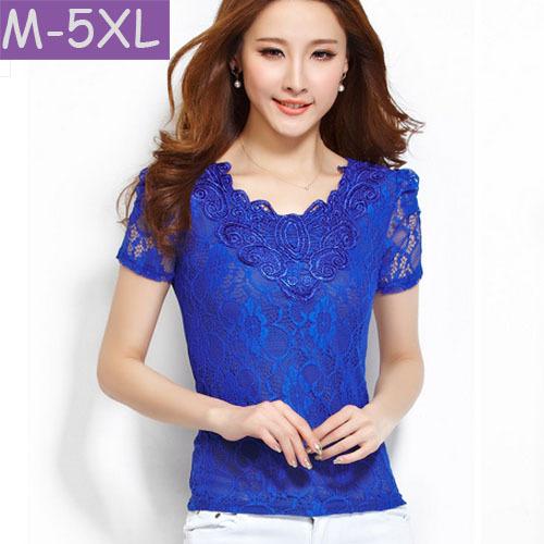 M-5XL Plus size Women clothing 2015 blusas Slim Short sleeve elasticity Mesh Lace Blouse shirt Female Fashion Floral Lace Tops(China (Mainland))