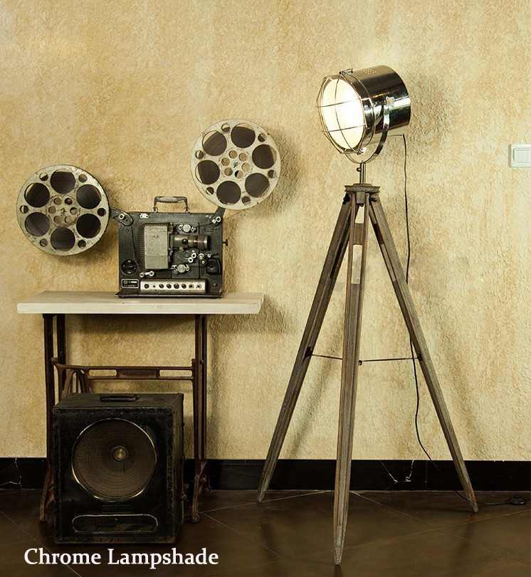 Solid Wood Tripod Searchlight Floor Lamp Nordic American Vintage Loft Style LED Home / Restaurant Decorative Fixture(China (Mainland))
