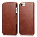 For iPhone 7 Case Genuine Leather Folio Flip Corrected Grain Leather Handmade Style Magnetic Closure Case