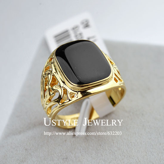 USTYLE 18K Gold Plated Fashion Black Ring Male Rings Jewelry for Men(China (Mainland))