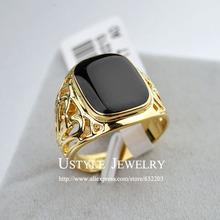 Ustyle banhado a ouro 18 K moda anel masculino anéis para homens