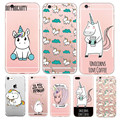 Cute Unicorn Cartoon Transparent Ultra Thin Flexible Soft Silicone Phone Case Back Cover For iPhone 5S