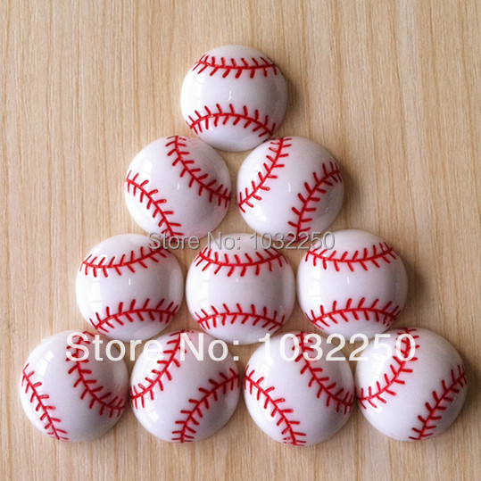 Wholesale 50pcs Baseball Softball Sports Resin Cabochons Flatbacks Flat Back Girl Hair Bow Center Crafts Embellishments BXT265(China (Mainland))