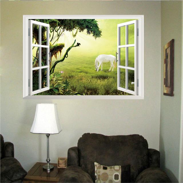 Новое поступление вид 3D окно пейзаж стикер стены гостиная отличительные знаки съемный домашнего декора прерии лошадь обои