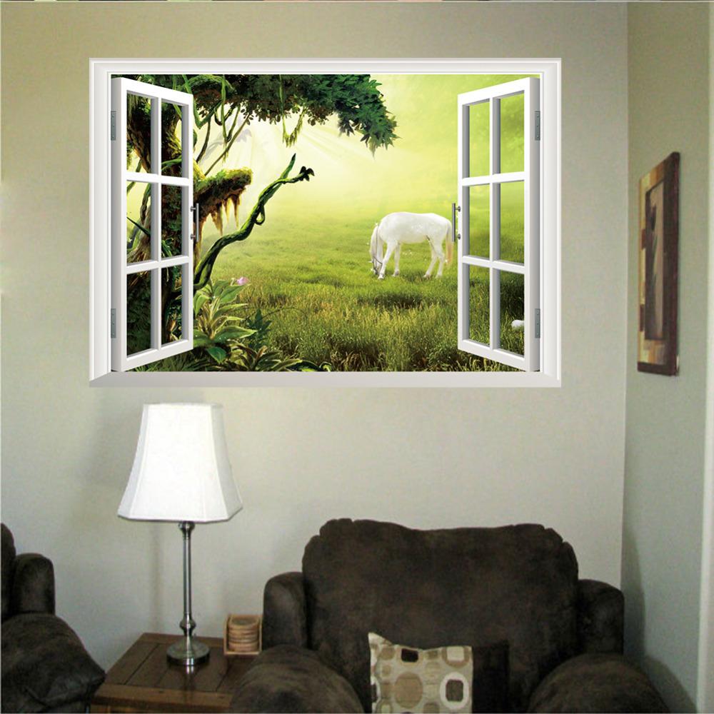 Buy new arrival 3d window view scenery wall sticker living r - Stickers muraux salon ...