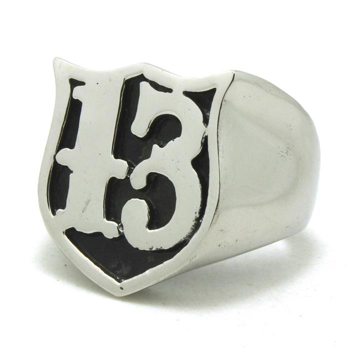 Mens Boys 316L Stainless Steel Cool Roman Text ''13'' Silver Original Design Cool Silver Vintage Shield Ring Factory Price(China (Mainland))