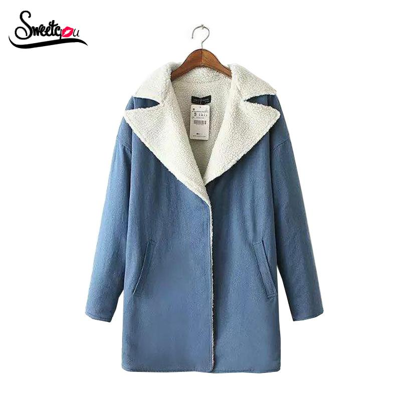 2016 Korean Style Heart Pattern Embroidery Winter Coat Women Long Sleeve Blue Denim Overcoat Thick Warm Fake Lamb Wool Coat(China (Mainland))
