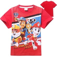 Free shipping 2015 new cartoon dog patrol pattern cotton T shirt boys sports summer style children