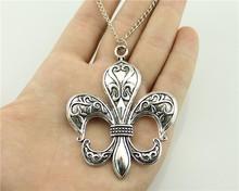 Buy WYSIWYG 2 colors antique bronze, antique silver tone 74*58mm big fleur de lis pendant necklace, 70cm chain long necklace for $1.42 in AliExpress store