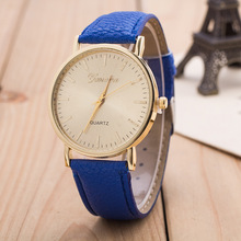 2016 Hot Sale Newest Fashion Geneva Dress PU Leather Gold Dial Women Watch Simplicity Quartz Clock