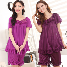 Sexy women cool summer short sleeved silk pajamas nightgown big yards free home delivery