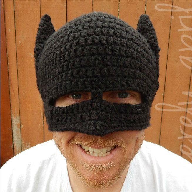 novelty handmade winter beanie crochet cool batman mask