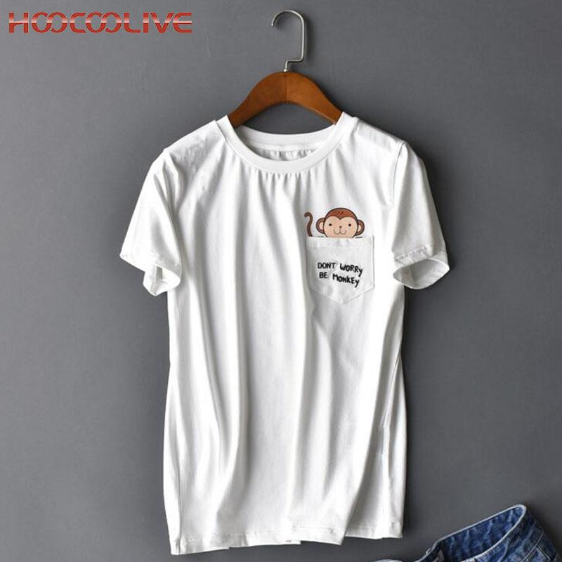 European & American Fashion Women Lady Short-sleeved T-shirt Pocket Animal Lovely Monkey Cat Dog Print Casual White T Shirt H42(China (Mainland))