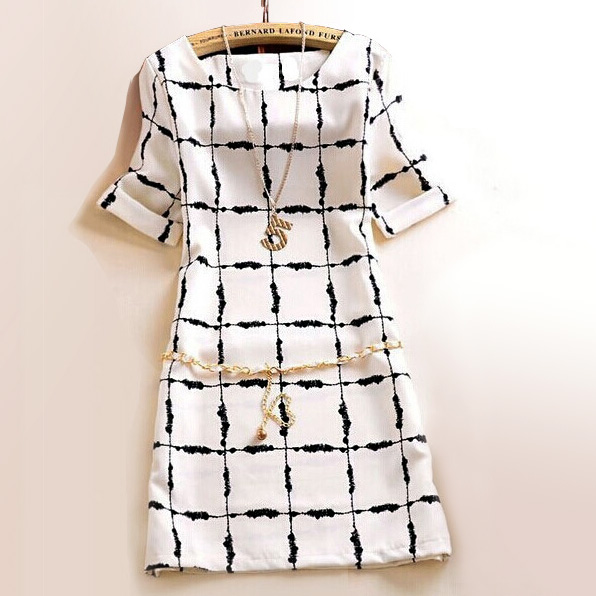 New Arrival Summer Dress 2016 Vintage White font b Plaid b font Print Women Dress Formal