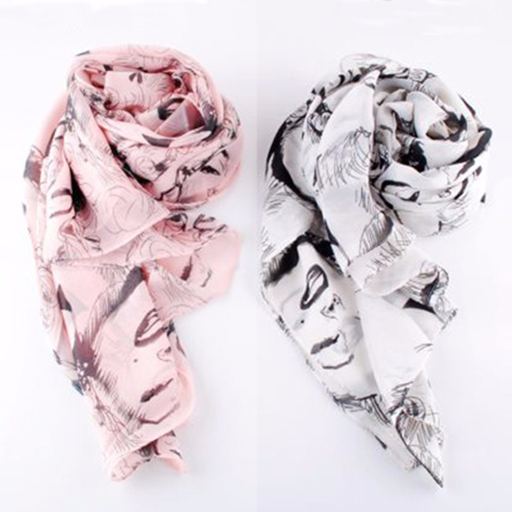 Freeshipping New Women Sexy Chiffon Silk Lip Pretty Marilyn Monroe Head Print Scarf Shawl Wraps Shades Scarves(China (Mainland))