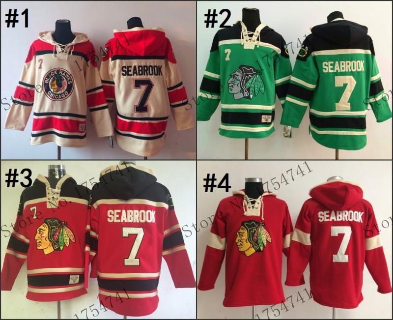 2015 cheap stitched Chicago Blackhawks ice hockey hoodie #7 Brent Seabrook Jersey Hockey Hoodies Sweatshirts with size:m-xxl