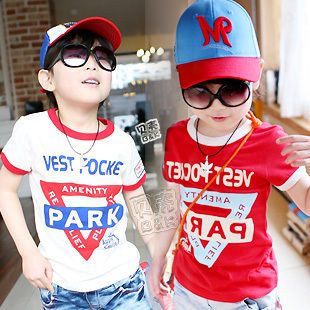 2012 summer letter armbandand boys clothing girls clothing baby short-sleeve T-shirt tx-0967