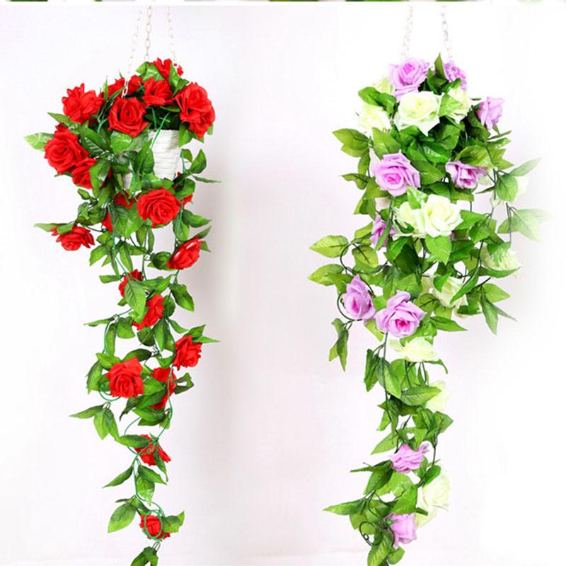 240cm Fake Silk Roses Flower Ivy Vine Hanging Garland Artificial Flower for Home Decor Wedding DIY Decoration(China (Mainland))