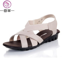 MUYANG Chinese Brand Summer Women Genuine Leather Flat Sandals Female Casual Comfortable Shoes Woman Flats Women Sandals