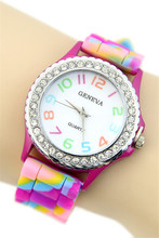 Lackingone # colorful Geneva multicolor jelly  Silicone  young school Crystal wrist watches fashion quartz sparkling watches