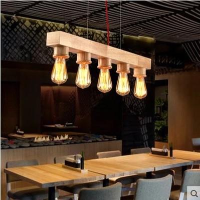 Wooden Edison Pendant Light Fixtures 5 Lights In Loft Vintage Industrial Lighting For Dinning Room Home Bar Restaurant Lighting(China (Mainland))