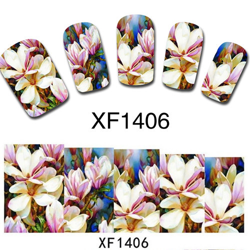 1 sheet Nail Art Water Transfer Nail Stickers Decal Flower Designs Nail Decorations DIY Watermark Wraps Manicure Tools #XF1406(China (Mainland))
