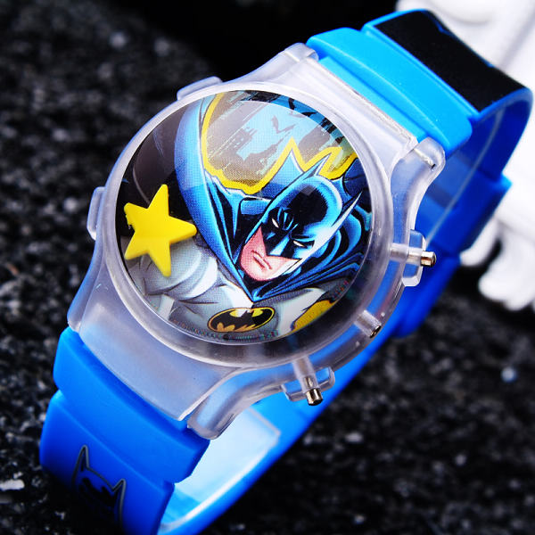 1PC Cute Batman LED Boys Cartoon Watches Funny Children Digital Sports Watch With Flashing Light Free Shipping Kids Wristwatches(China (Mainland))