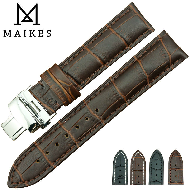 MAIKES Factory Direct Sale New Arrival Men Genuine Leather Watch Strap And Butterfly Buckle watch band(China (Mainland))