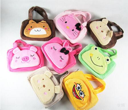 Random Color Cartoon animal women's fashion plush handbag casual bag 2 pocket excellent wallet(China (Mainland))