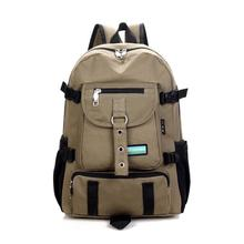 2015 new Fashion arcuate leisure men s backpack strap zipper solid color casual canvas backpack school