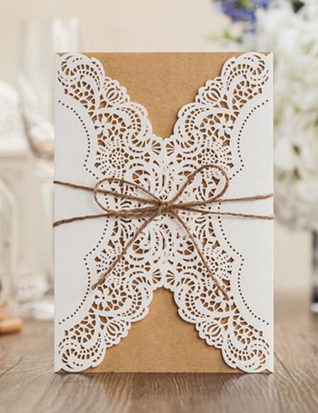 Tarjetas de Invitación de Boda de la vendimia, laser cut fiesta de cumpleaños tarjeta de felicitación Invitaciones boda kits 100 unids envío gratis(China (Mainland))