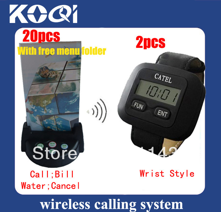 Wireless service calling system ;2 wrist receivers + 20 4key buttons,Key name couble be definited according to your demand(China (Mainland))