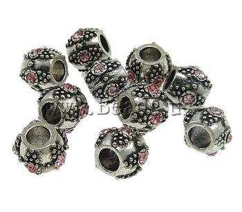 Free Shipping 10pcs/lot with rhinestone nickel lead & cadmium free Sold by Bag african bead jewelry Zinc Alloy European Beads
