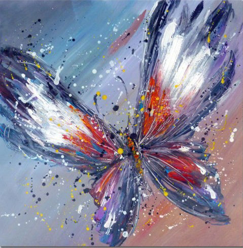 Frameless Handpainted Artwork High Quality Modern Wall Art On Canvas Animal Oil Painting Butterfly Hang Pictures Room Decor(China (Mainland))