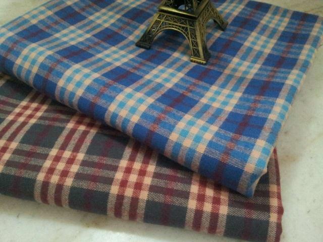pf45 TWILL Sanded Cotton fabric cloth textile tartan classic winter coat fabric retail or wholesale blue 50cm x 145cm(China (Mainland))