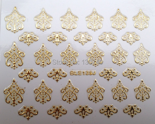 BLE135J 3D Design Tip Nail Sticker Decal Manicure nail tools Golden decoration - F&Z INTERNATIONAL CO. store