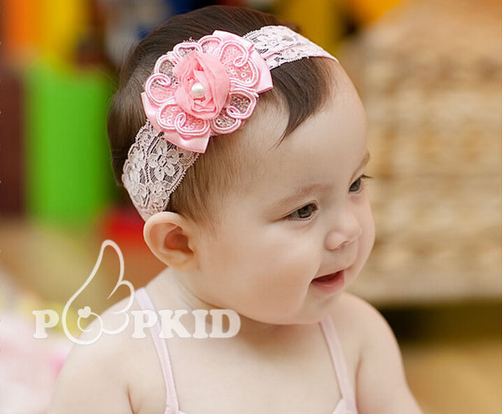 Baby Infants Toddlers Girls Pink Headband Chiffon Drill Flowers Hairband Floral Elastic Band Hair Bands Accessories(China (Mainland))