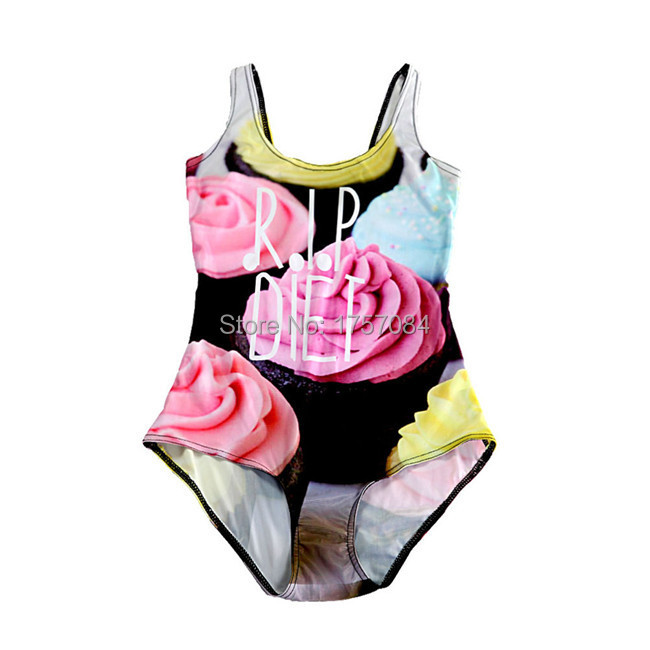 Vintage Swimdress Swimming Suit Cupcake Digital Print Swimsuit One Piece Bathing Suits Sexy Female Swimwear Bodysuit Ropa Mujer(China (Mainland))
